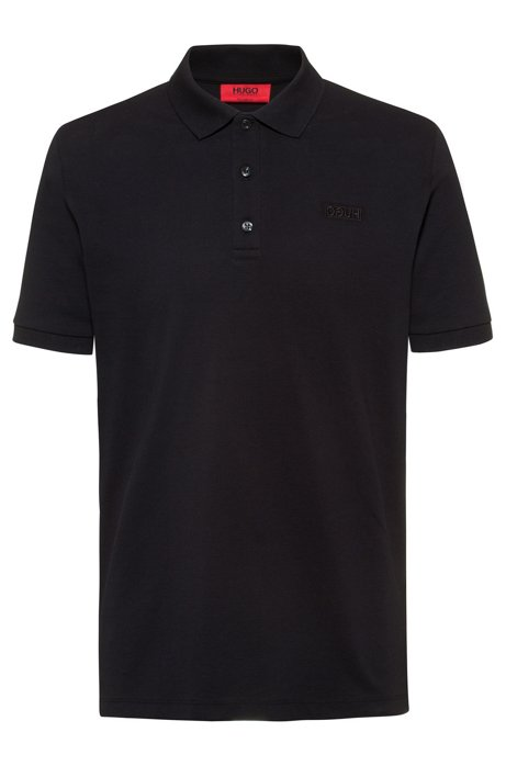 Reversed-logo polo shirt in cotton piqué, Noir