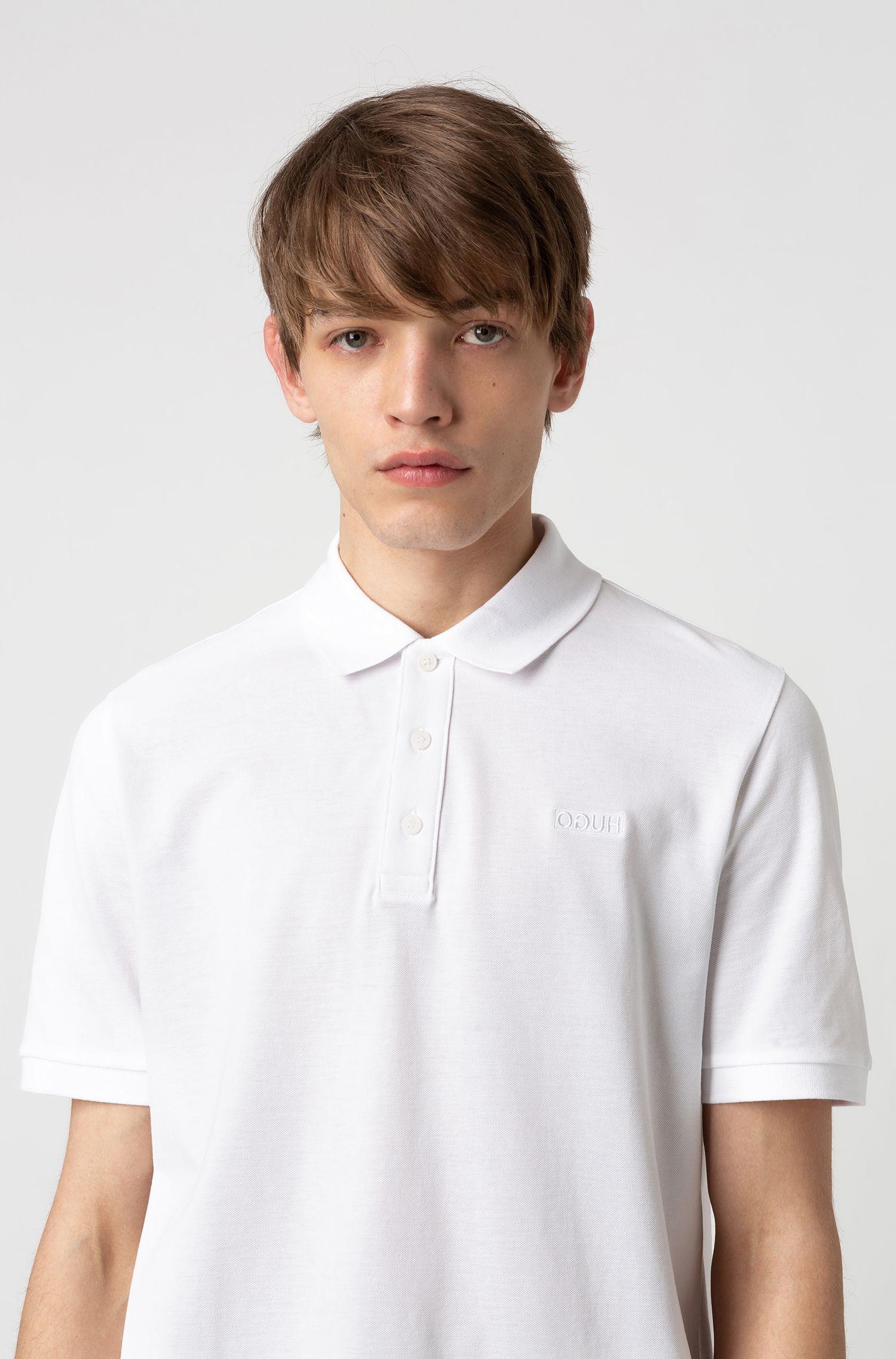 Reversed-logo polo shirt in cotton piqué, White