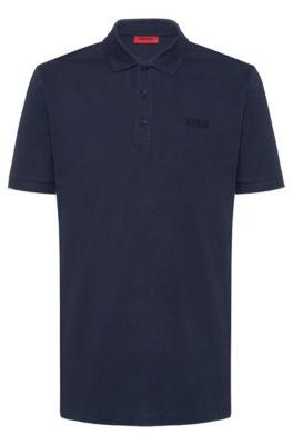 Reversed-logo polo shirt in cotton piqué, Azul oscuro