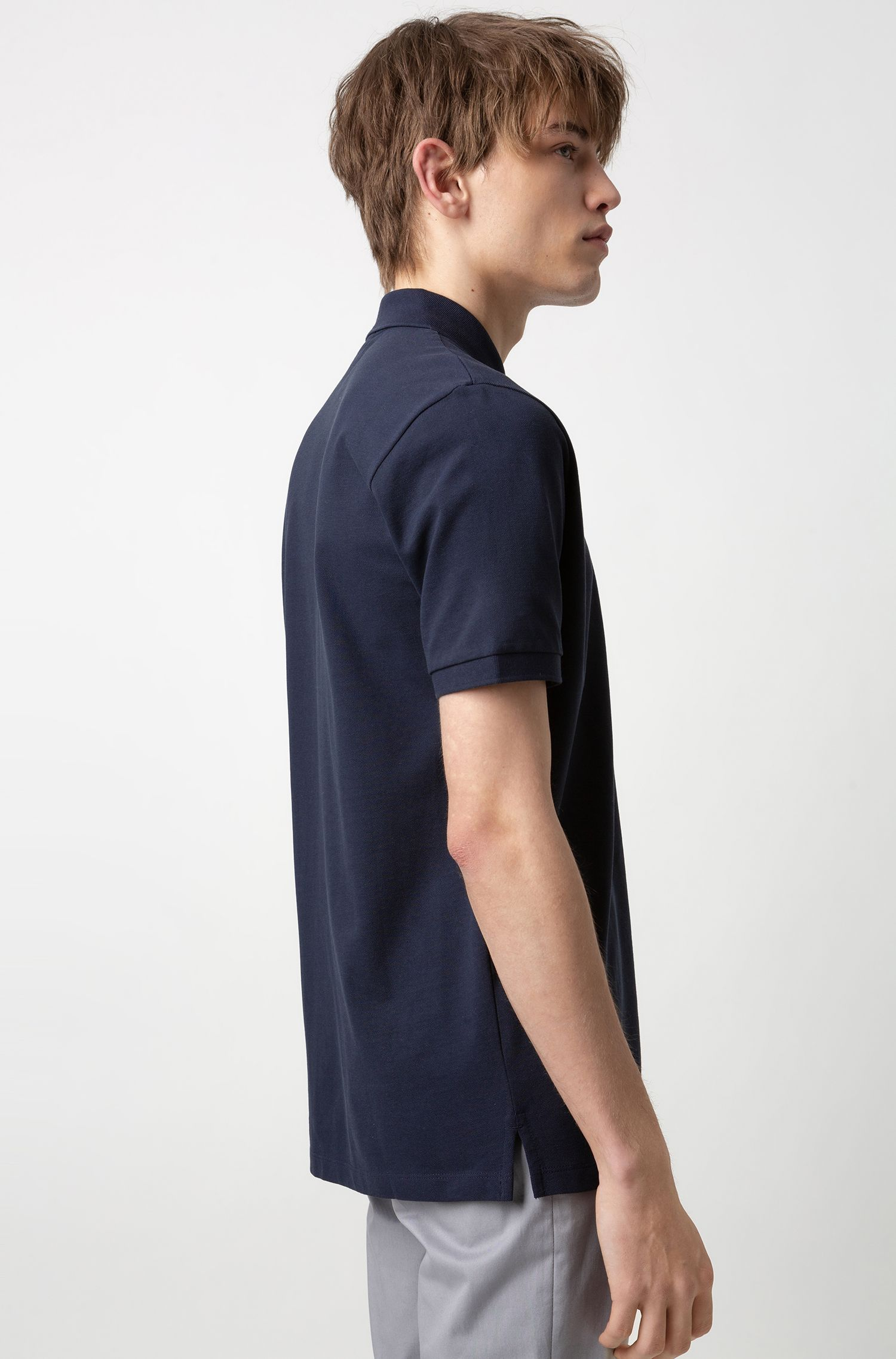 Reversed-logo polo shirt in cotton piqué, Bleu foncé