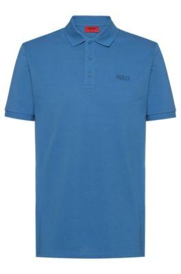 Reversed-logo polo shirt in cotton piqué, Azul