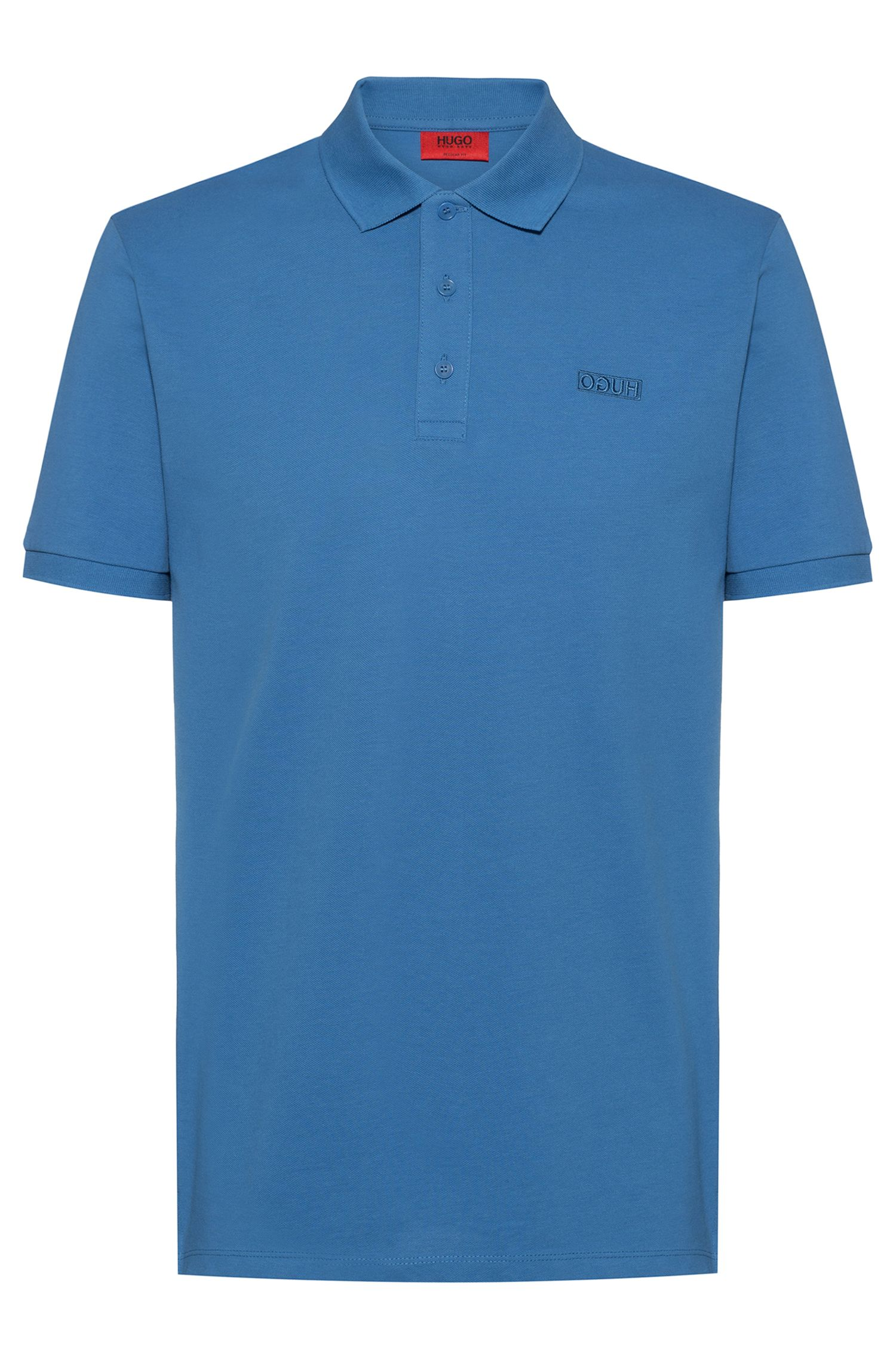 Reversed-logo polo shirt in cotton piqué, Azul