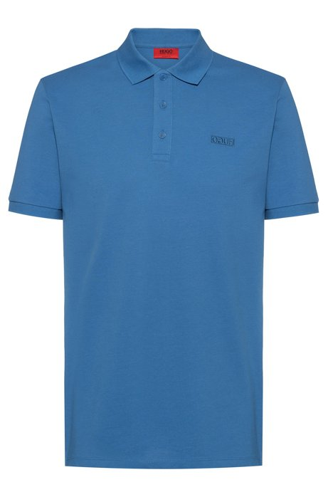 Reversed-logo polo shirt in cotton piqué, Bleu