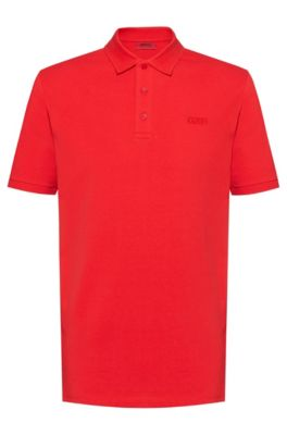 Reversed-logo polo shirt in cotton piqué, Rood