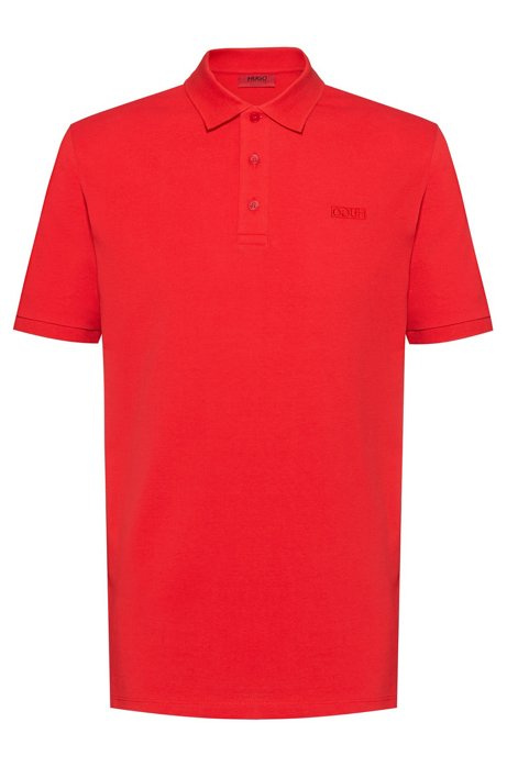 Reversed-logo polo shirt in cotton piqué, Rouge