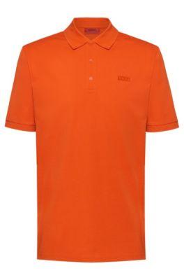 Reversed-logo polo shirt in cotton piqué, Orange