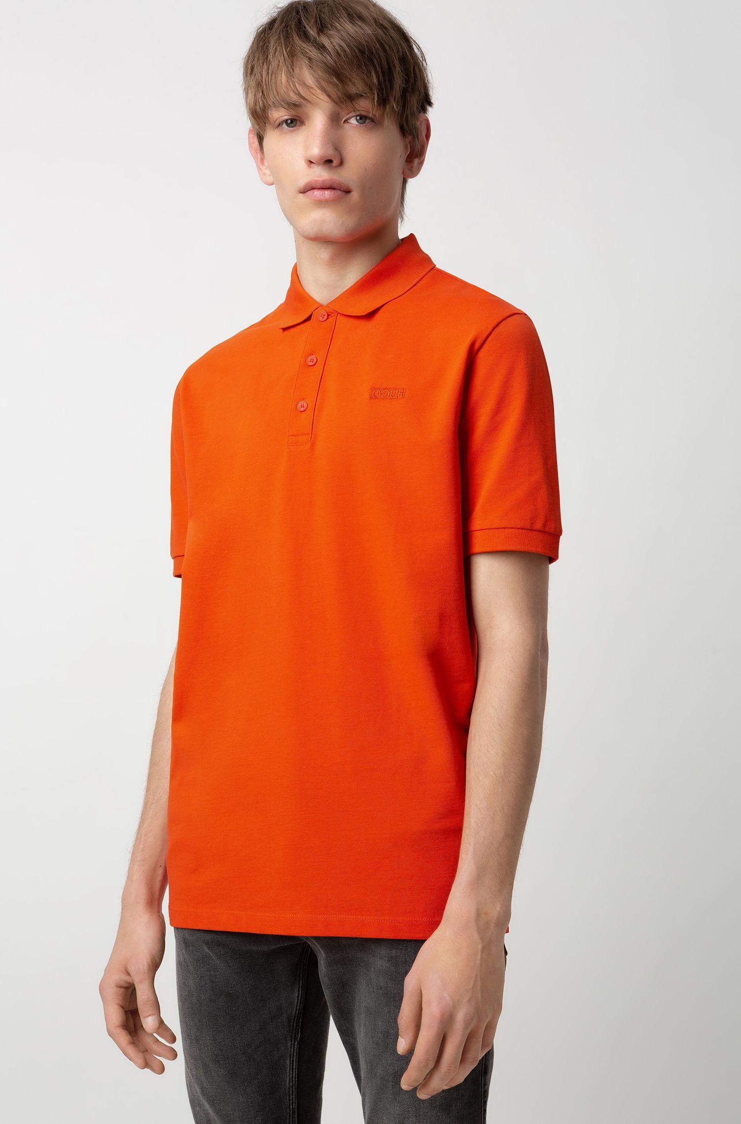 Reversed-logo polo shirt in cotton piqué, Oranje