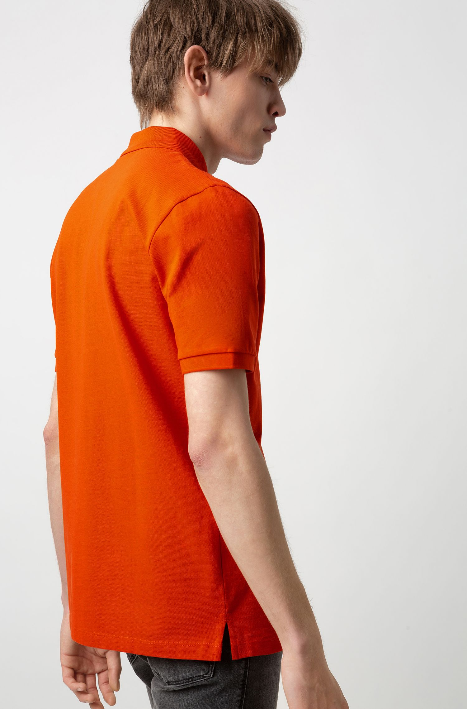 Reversed-logo polo shirt in cotton piqué, Orange