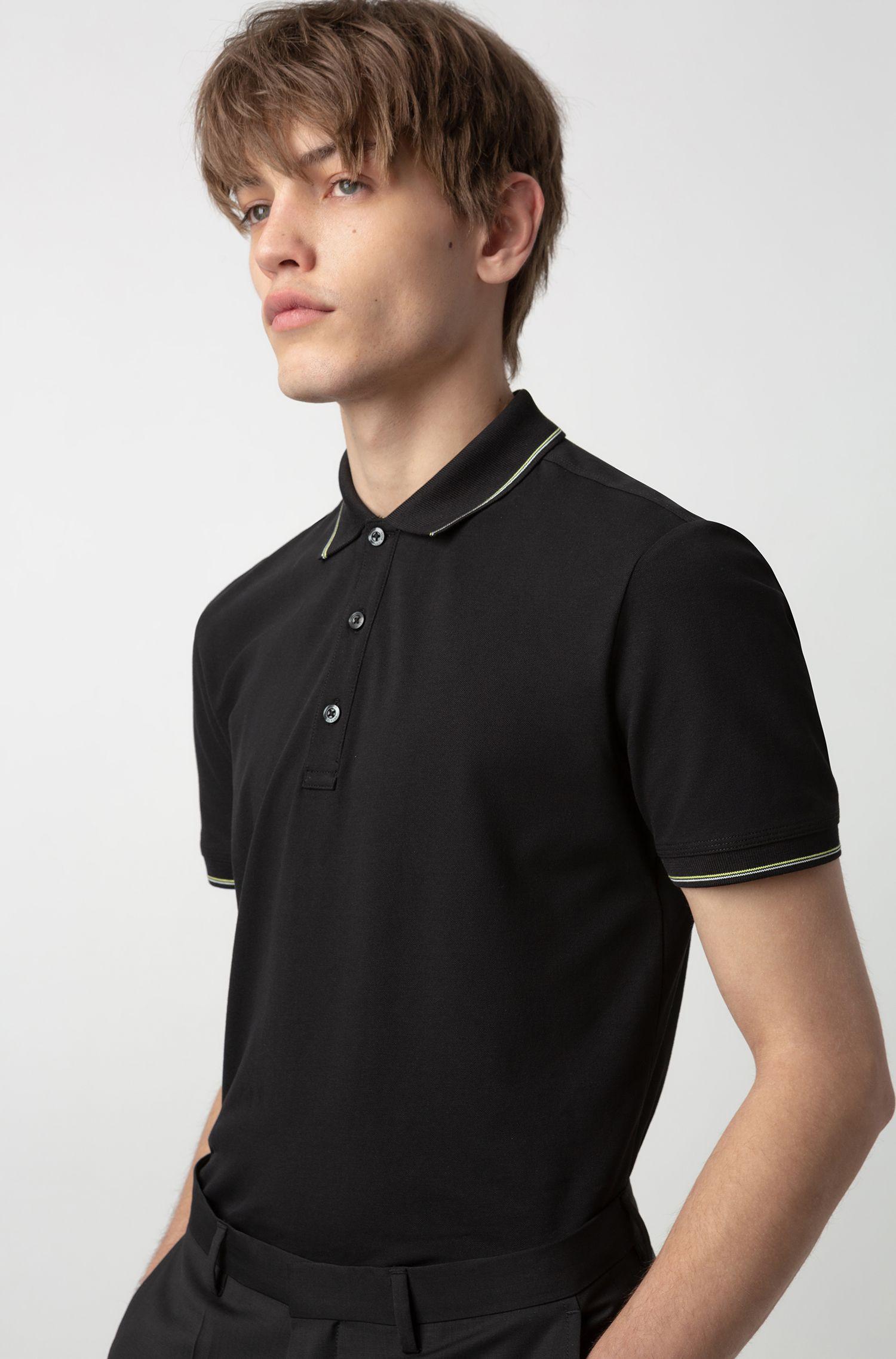 Slim-fit polo shirt in stretch-cotton piqué, Black