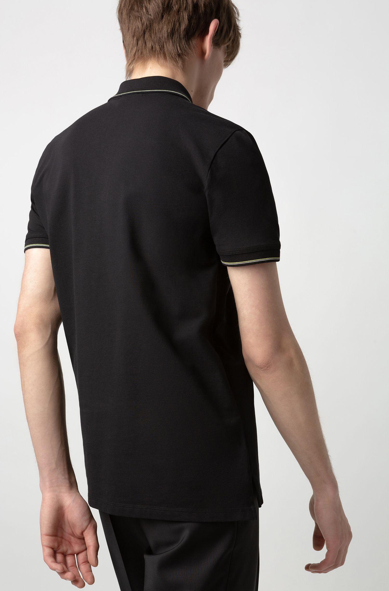 Slim-fit polo in een piqué van stretchkatoen, Zwart