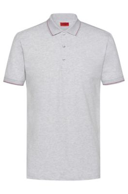 Polo Slim Fit en piqué de coton stretch, Gris chiné