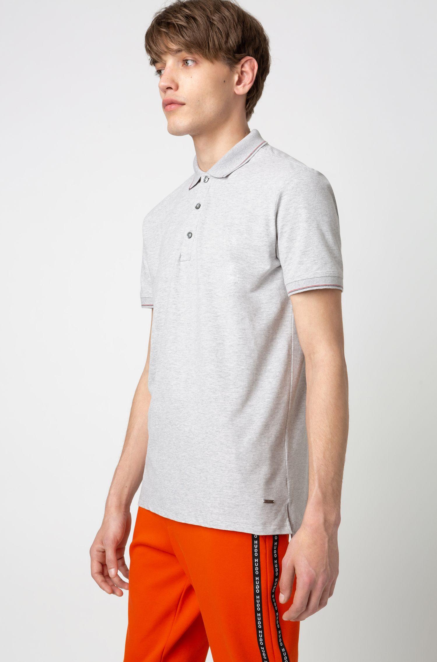 Poloshirt aus elastischem Baumwoll-Piqué, Hellgrau