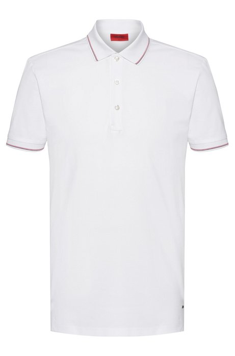 Slim-fit polo shirt in stretch-cotton piqué, White