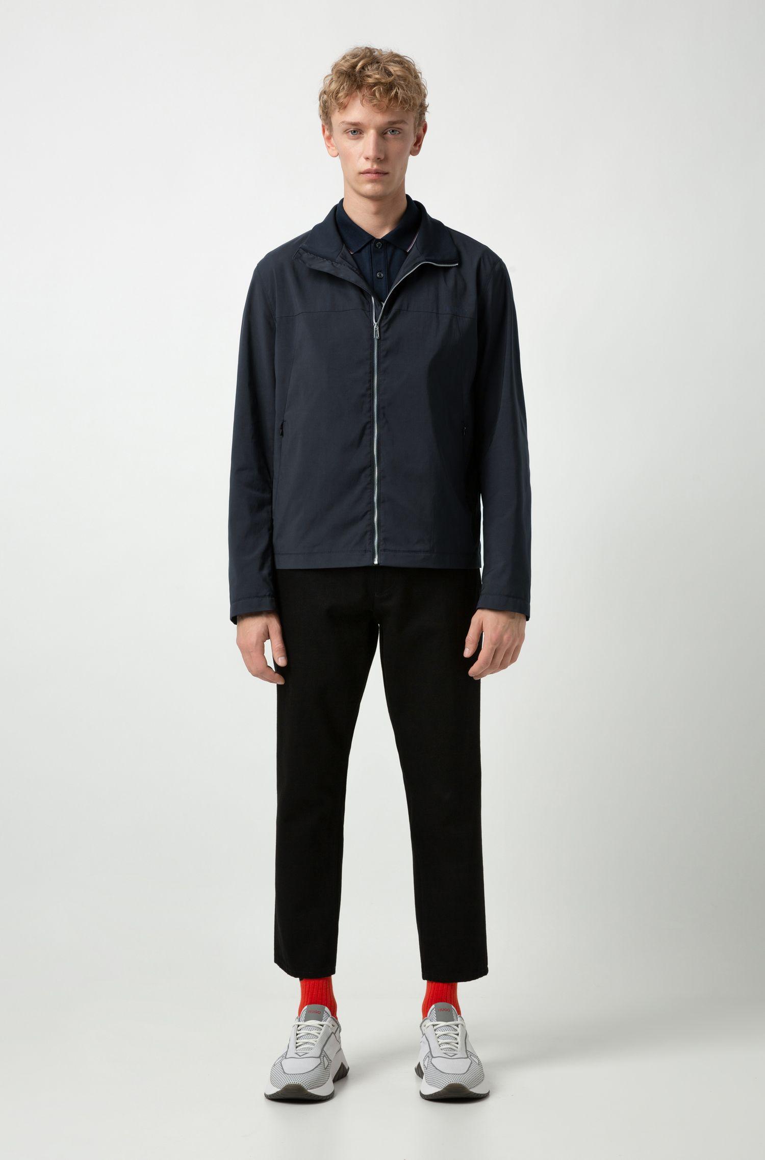 Polo Slim Fit en piqué de coton stretch, Bleu foncé