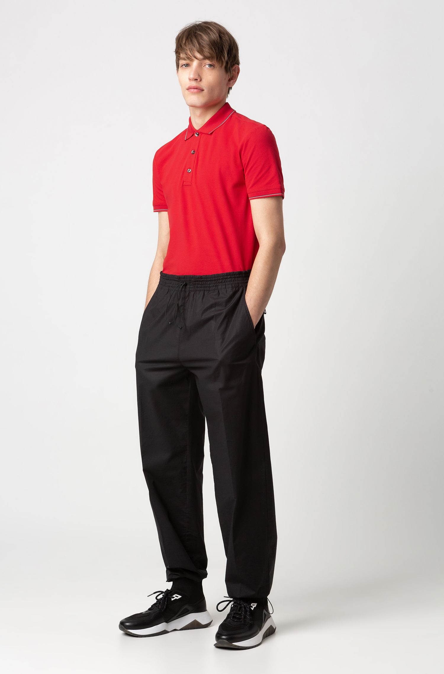 Polo Slim Fit en piqué de coton stretch, Rouge