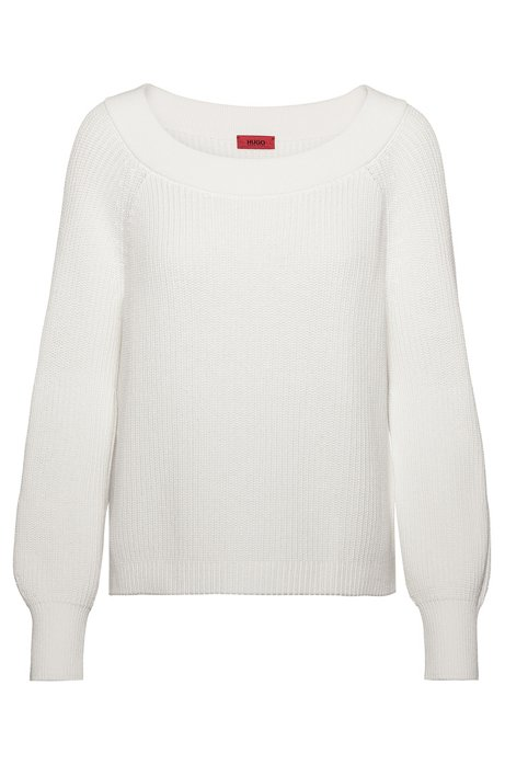 Wide boatneck sweater in rib-knit cotton, Natural