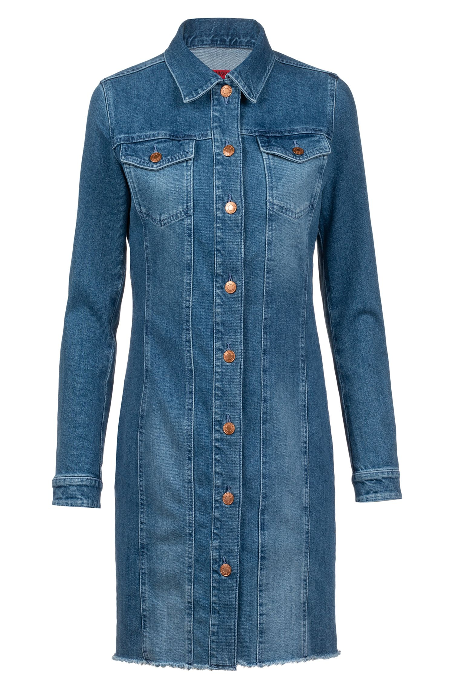 Slim-fit shirt dress in Italian comfort-stretch denim, Turquoise