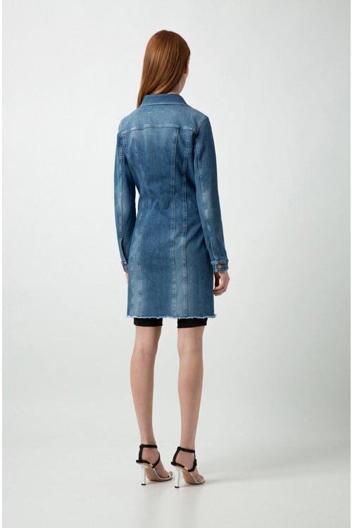 Hugo Boss - Slim-Fit Hemdblusenkleid aus italienischem Stretch-Denim - 4
