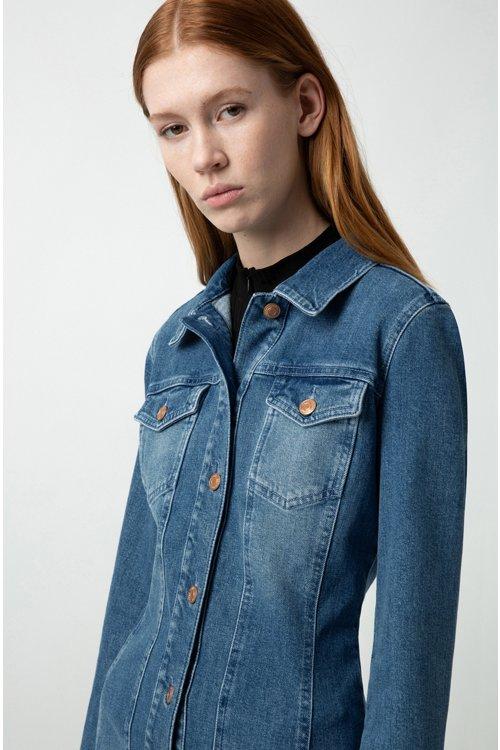 Hugo Boss - Slim-Fit Hemdblusenkleid aus italienischem Stretch-Denim - 3