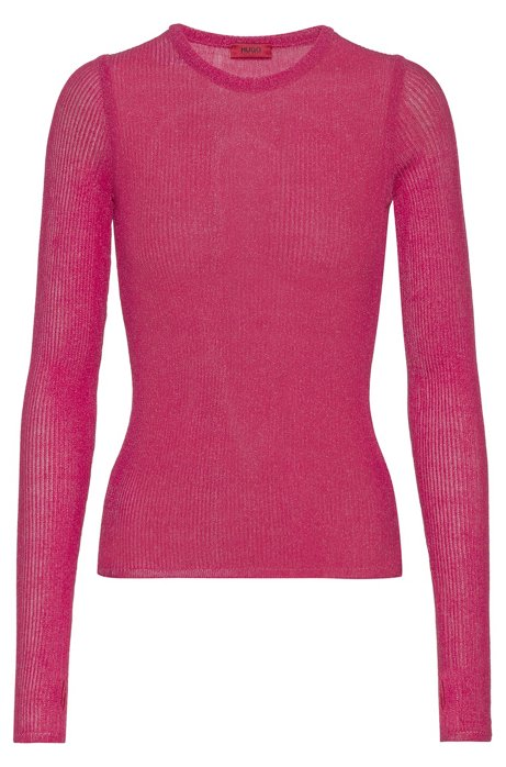 Regular-fit ribbed sweater with thumb holes, Dark pink
