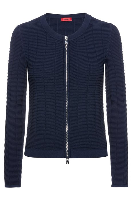 Knitted jacket in waffle-structured super-stretch fabric, Dark Blue