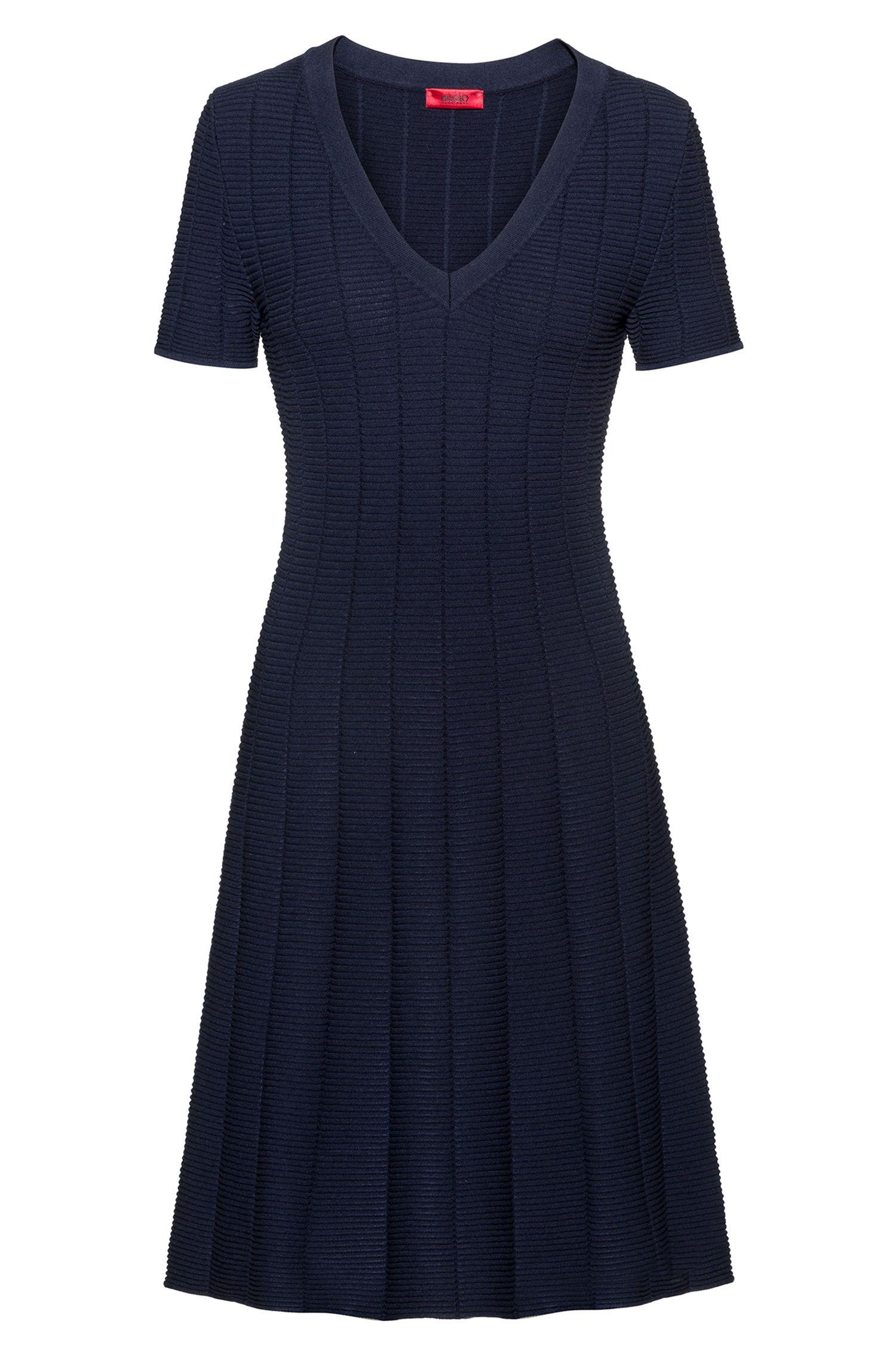 Slim-fit dress in waffle-structured super-stretch fabric, Dark Blue