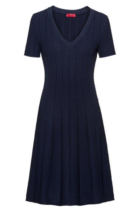Kleid aus Super-Stretch-Gewebe mit Waffelstruktur, Dunkelblau