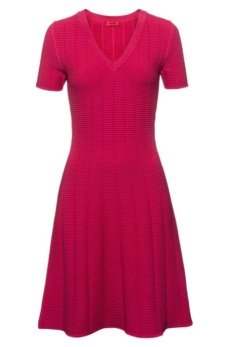 Slim-fit dress in waffle-structured super-stretch fabric, Dark pink