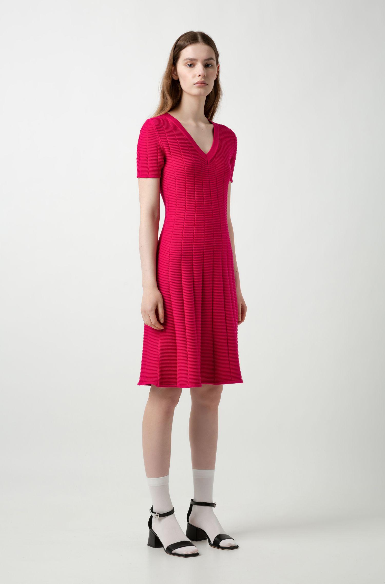 Slim-fit dress in waffle-structured super-stretch fabric, Dark pink