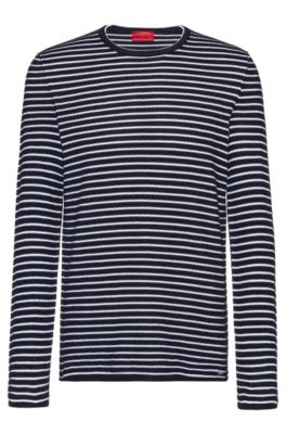 Breton-striped cotton sweater in knitted piqué, Patterned