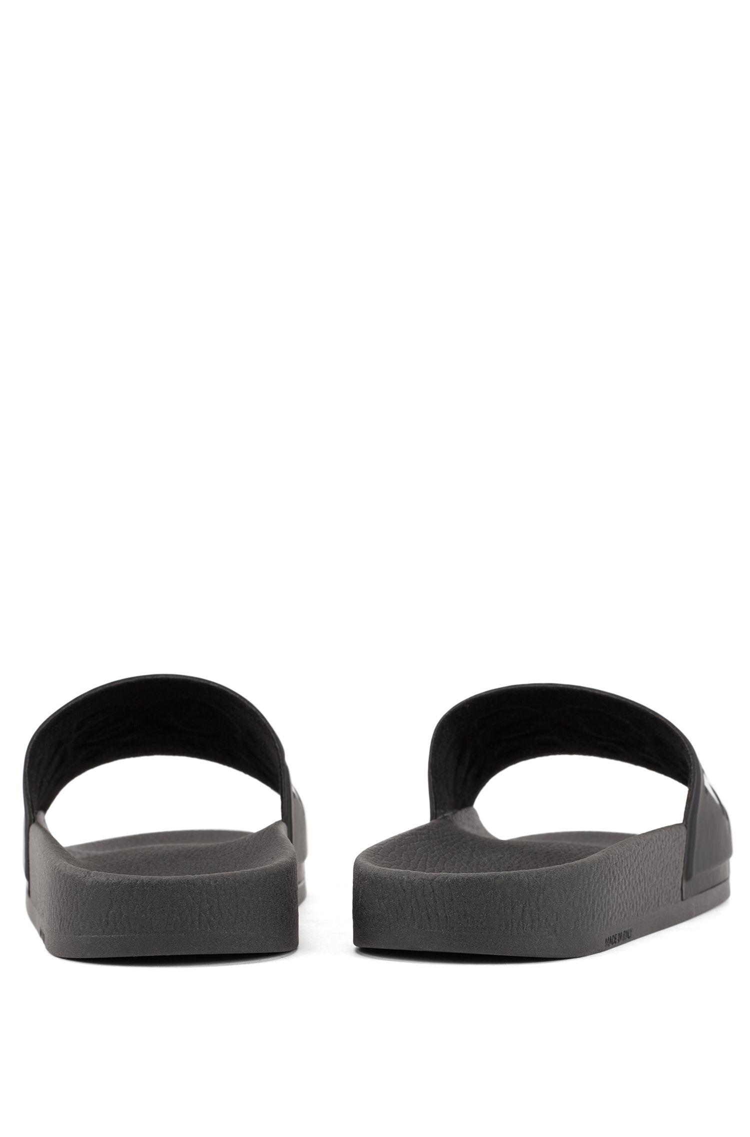 Logo slides with ergonomic footbed, Black