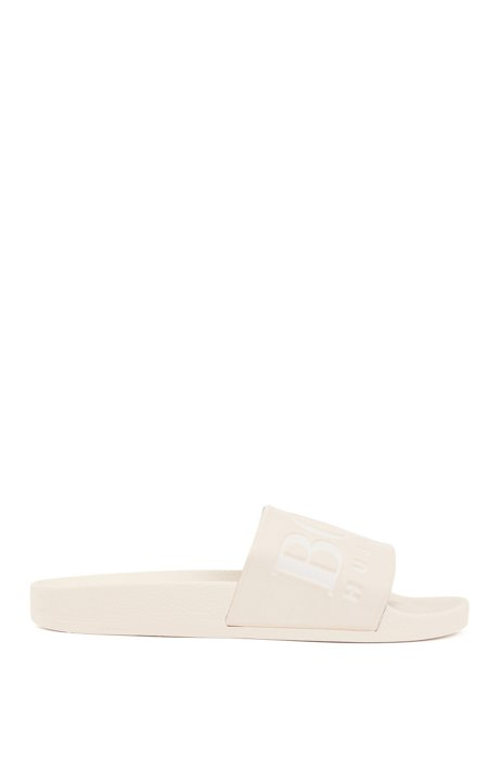 Logo slides with ergonomic footbed, Light Beige