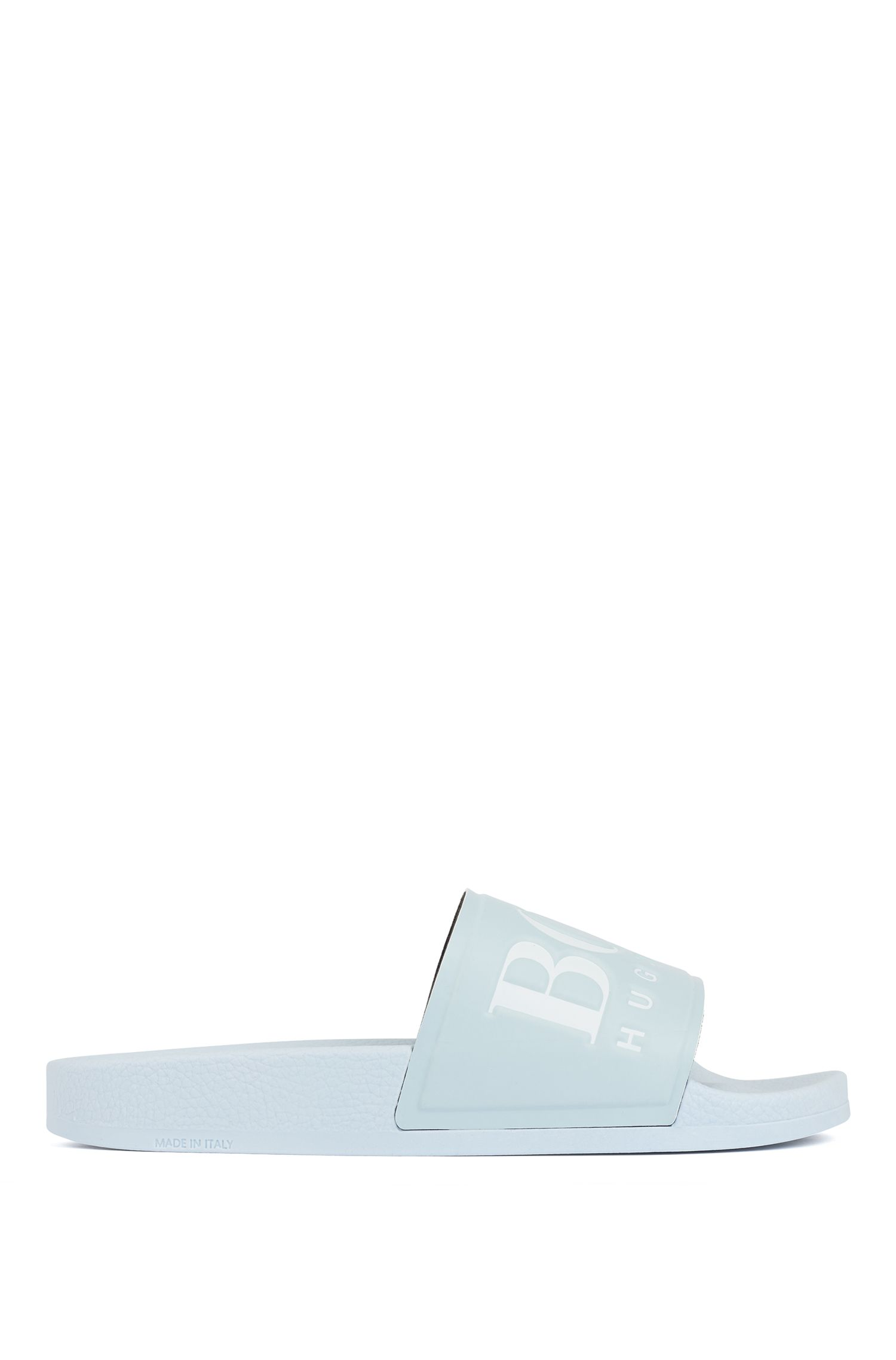 Logo slides with ergonomic footbed, Light Blue