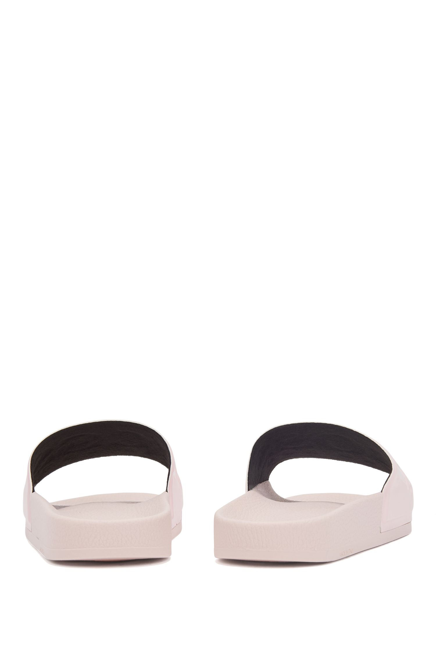 Logo slides with ergonomic footbed, light pink