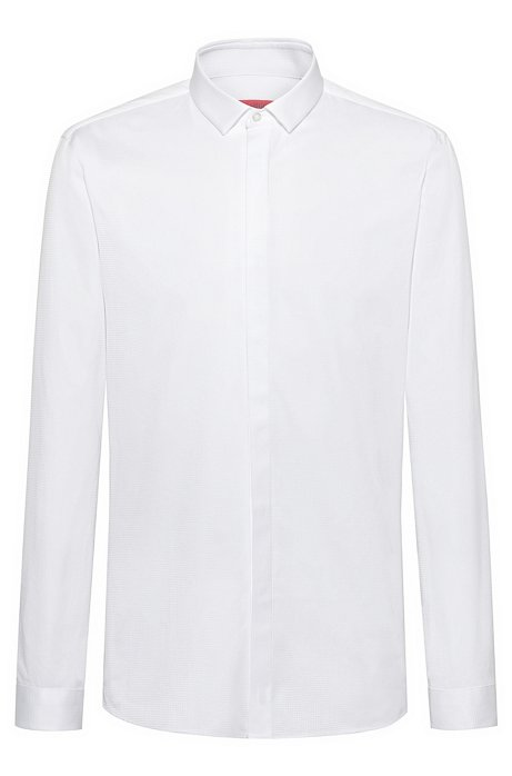 Extra-slim-fit checked shirt in two-ply cotton, White
