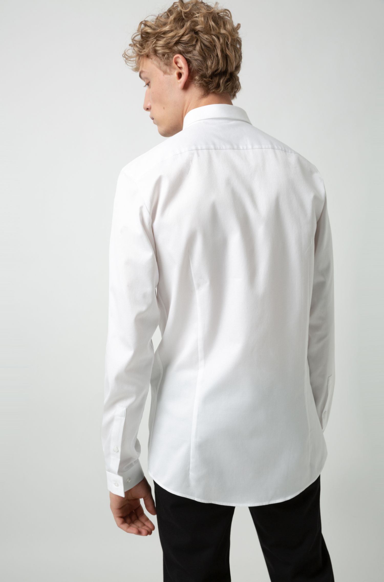 Camicia a quadri extra slim fit in cotone a doppio strato, Bianco