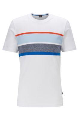 T-shirt slim fit con pannello a righe sul petto, Bianco