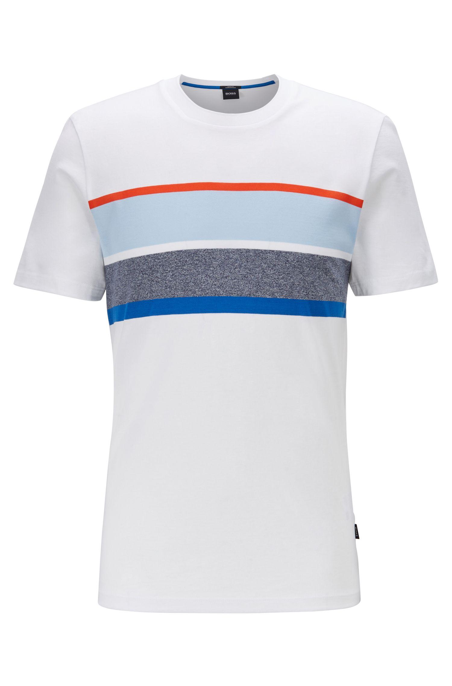 T-Shirt aus Baumwoll-Mix mit gestreiftem Einsatz auf der Brust, Weiß