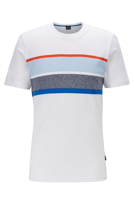 Slim-fit T-shirt with striped chest panel, White
