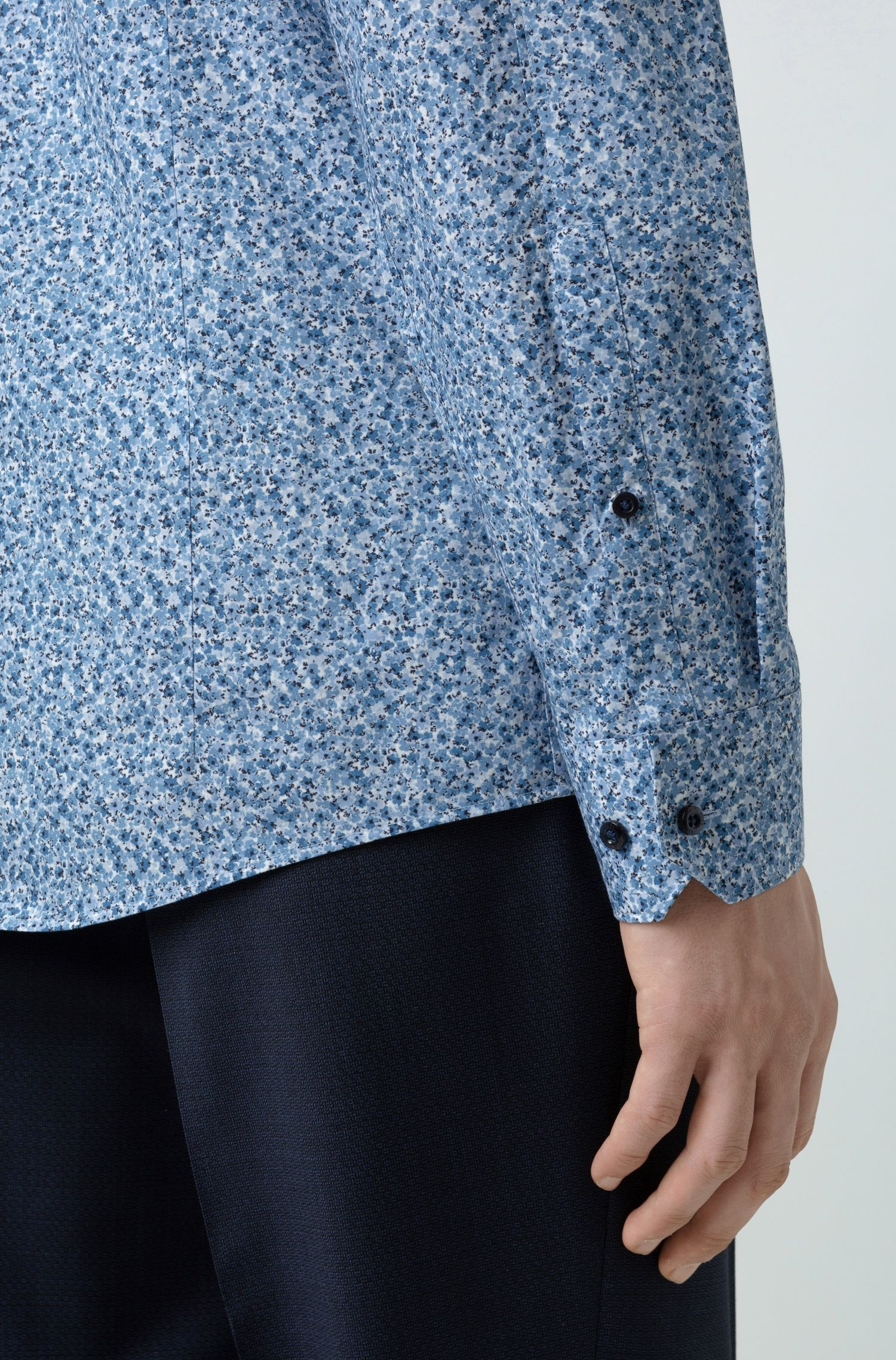 Extra-slim-fit shirt in pure cotton, Patterned