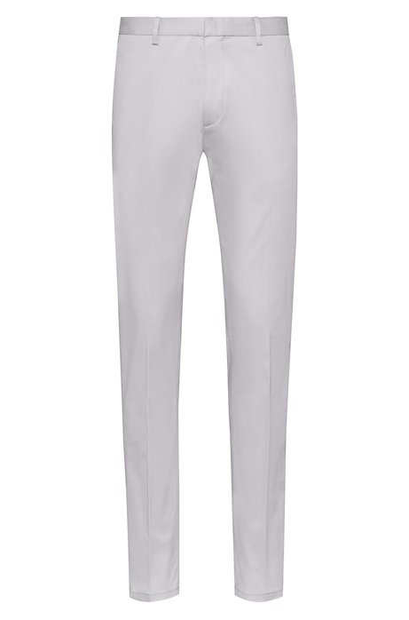b10777d6be HUGO - Slim-fit trousers in stretch-cotton gabardine