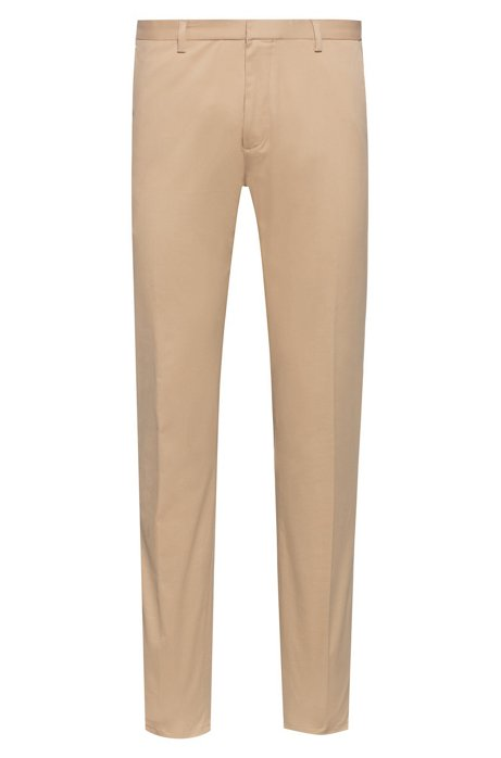 Slim-fit trousers in stretch-cotton gabardine, Beige