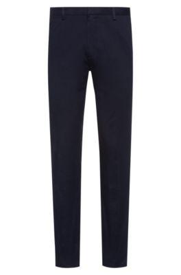 Slim-fit broek in een gabardine van stretchkatoen, Donkerblauw