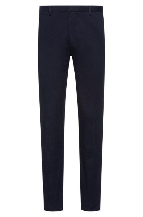 Pantalon Slim Fit en gabardine de coton stretch, Bleu foncé