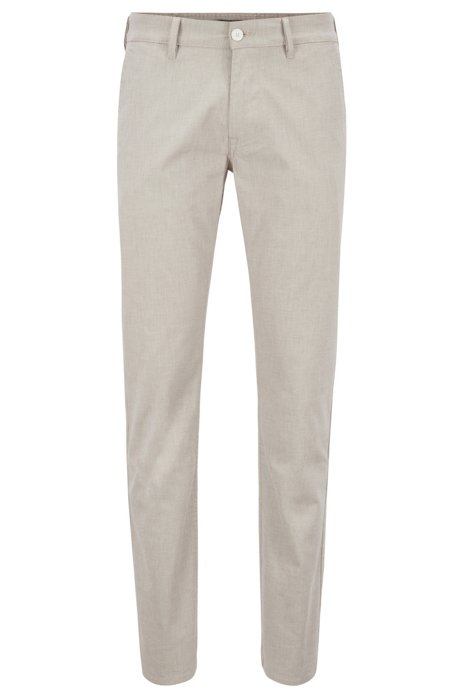 Slim-fit trousers in micro-structured stretch cotton, Light Beige