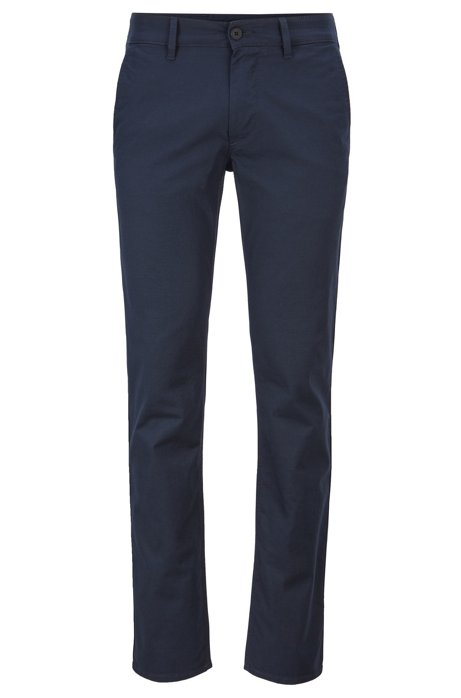 Slim-fit trousers in micro-structured stretch cotton, Dark Blue