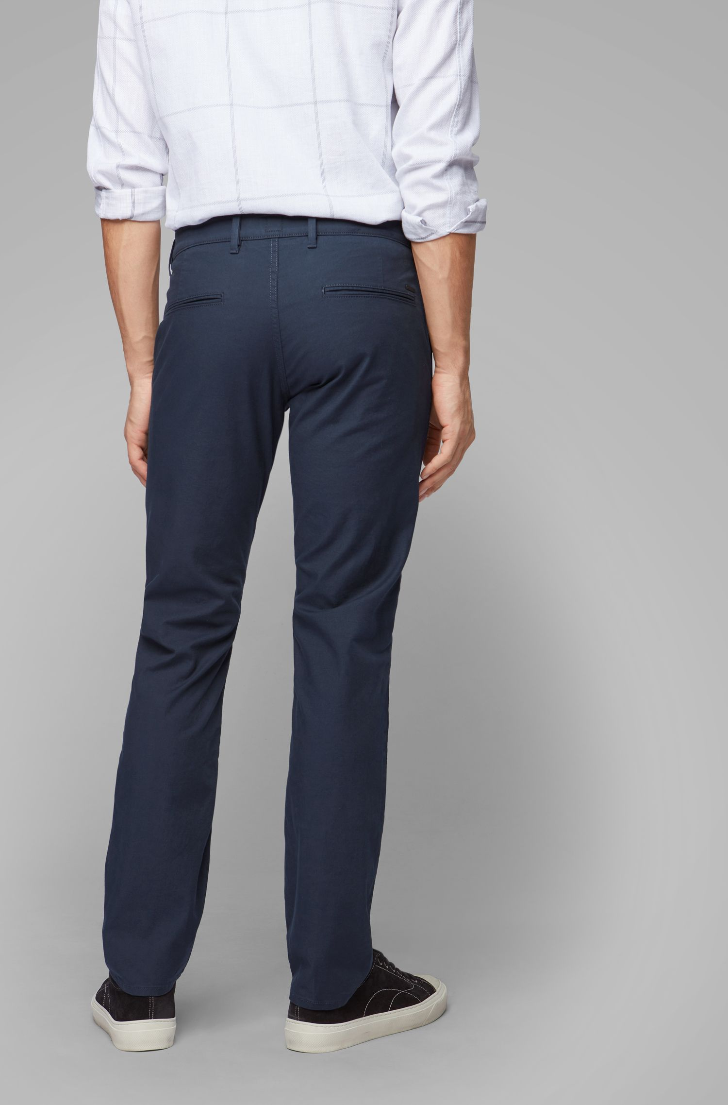 Slim-fit trousers in micro-structured stretch cotton, Dark Blue