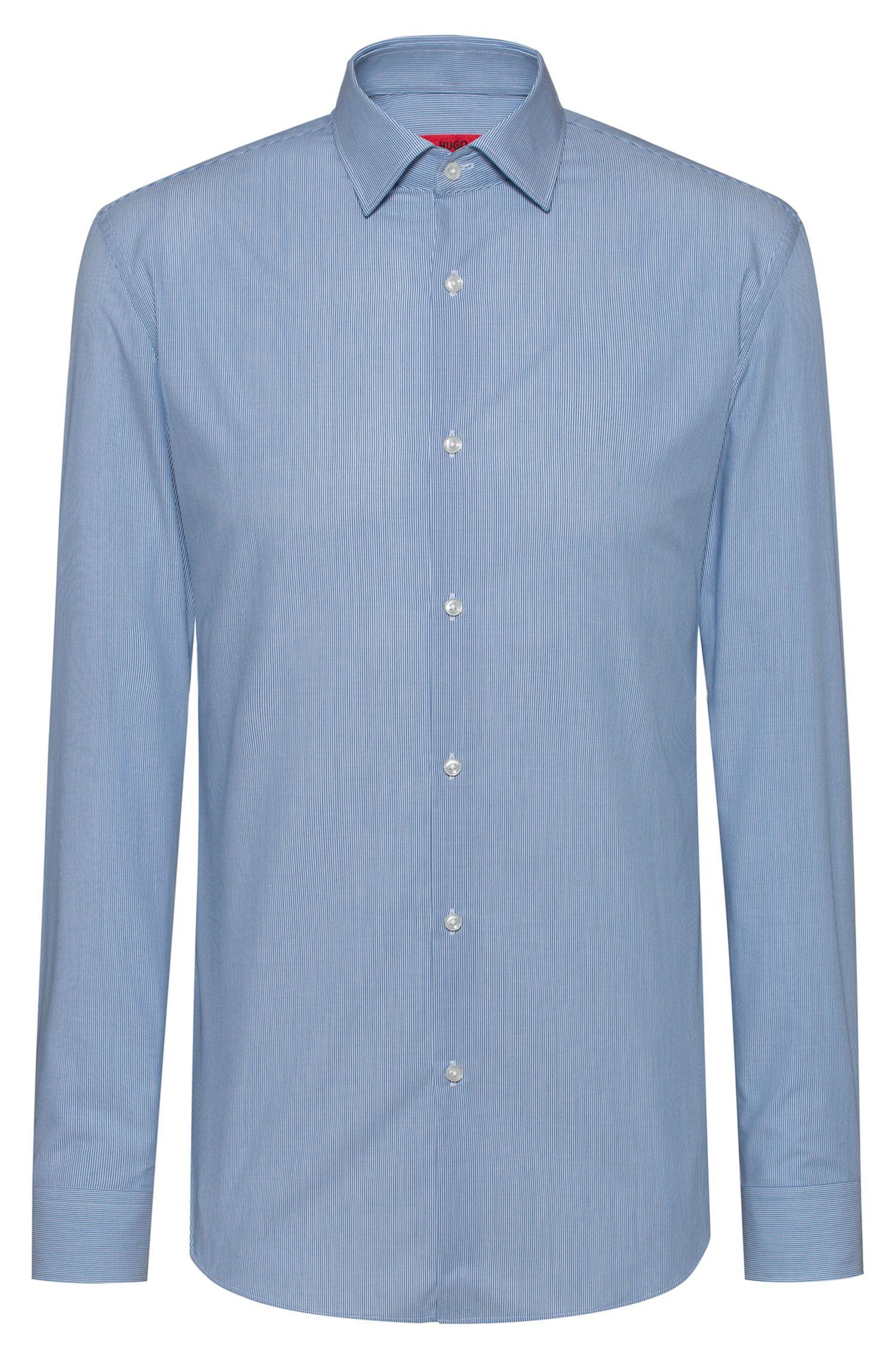 Gestreiftes Slim-Fit Hemd aus bügelleichter Baumwoll-Popeline, Gemustert