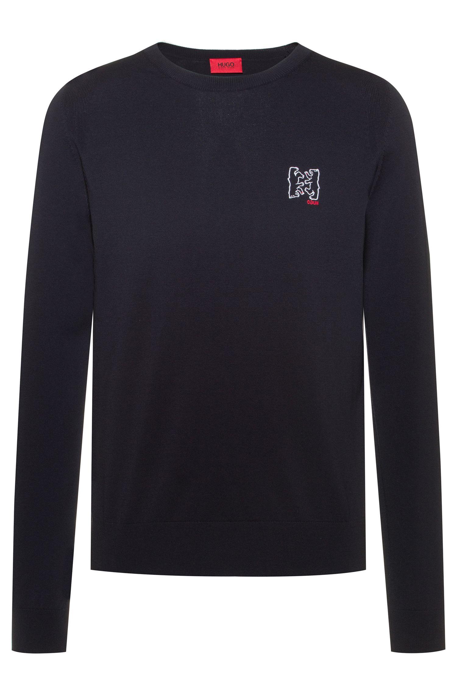 Cotton-blend knitted sweater with bear motifs, Dark Blue