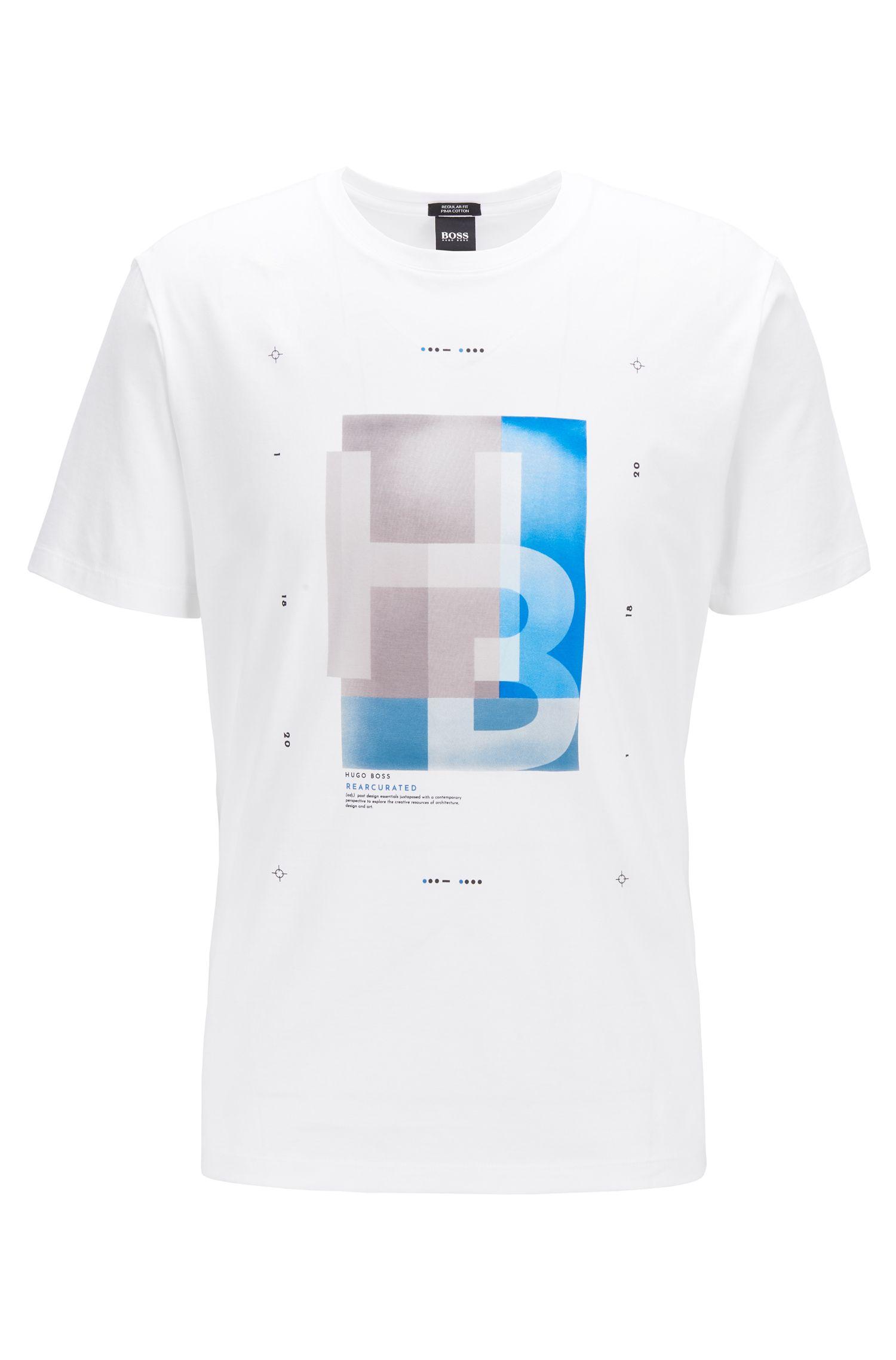 T-Shirt aus Pima-Baumwolle mit Logo-Print und Morsecode, Weiß